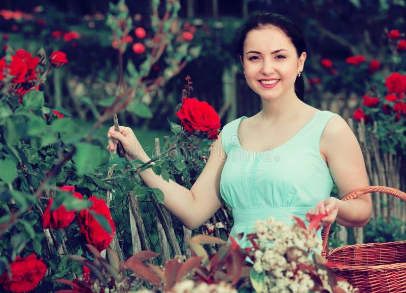 Portrait de jeune femelle tenant un panier près des roses dans extérieur image libre de droits