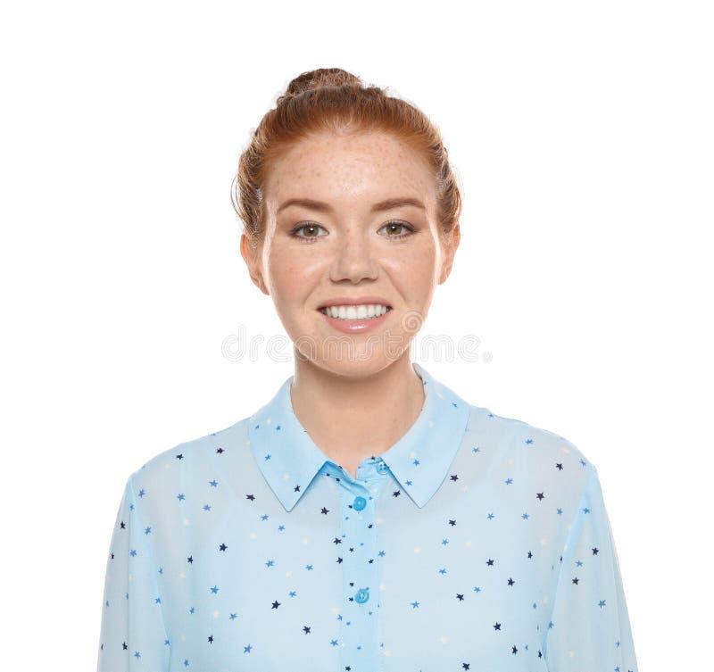 Portrait de jeune femme avec le beau visage sur le blanc photographie stock libre de droits