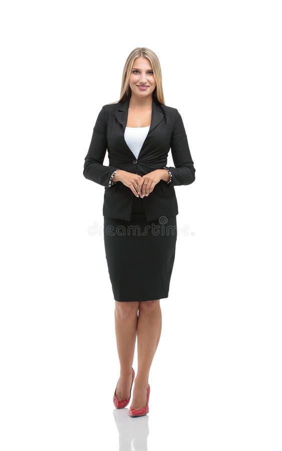 Portrait de jeune femme d'affaires de sourire heureuse dans le costume a images libres de droits