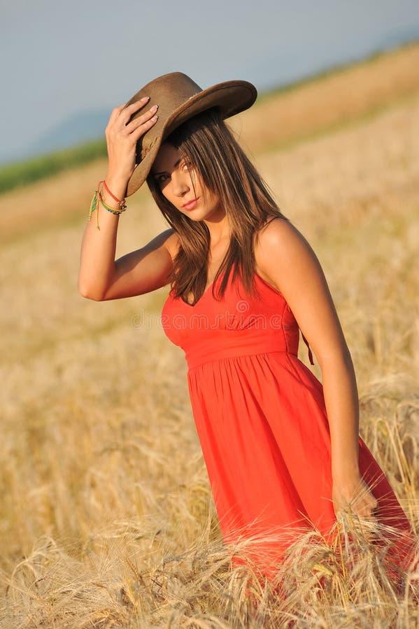Portrait de jeune femme dans le domaine de blé jaune photographie stock libre de droits