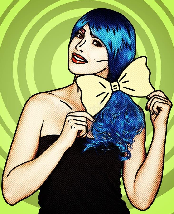Portrait de jeune femme dans le style comique de maquillage d'art de bruit Fille avec le noeud papillon jaune dans des mains images libres de droits