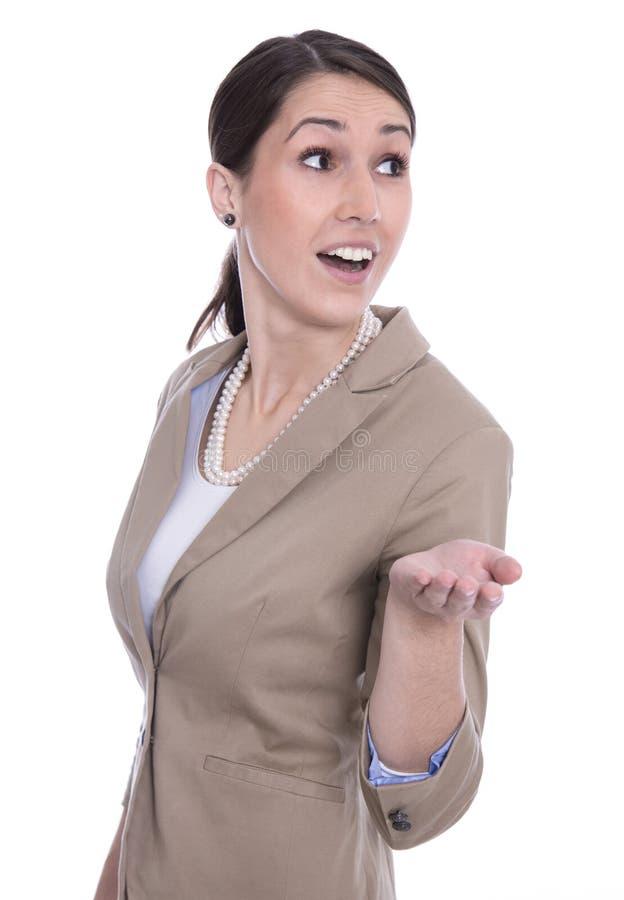 Portrait de jeune femme de sourire heureuse d'affaires avec la paume. photographie stock libre de droits