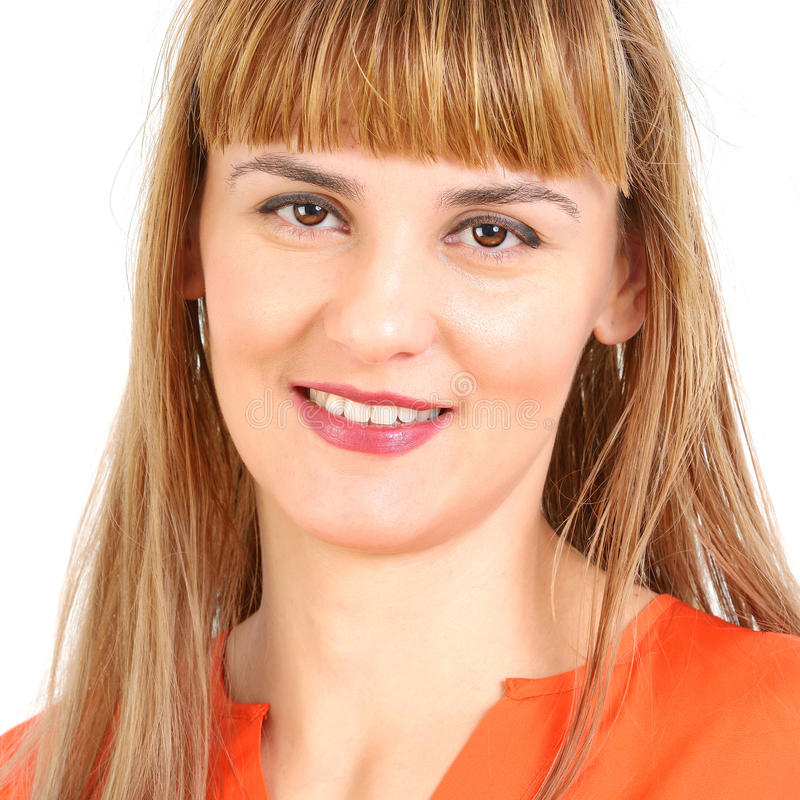 Portrait de jeune femme gaie de sourire heureuse d'affaires photos stock