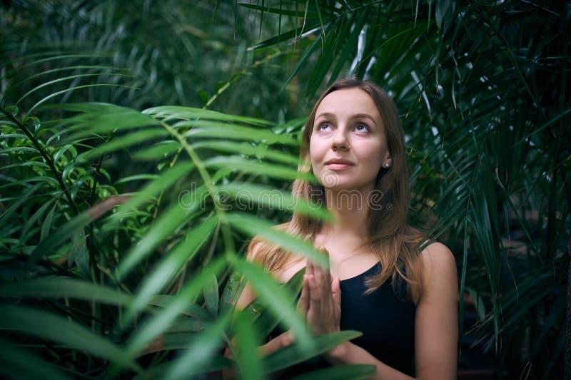 Portrait de jeune femme mignonne méditant et faisant la main de namaste dans la jungle Jour ensoleillé photographie stock