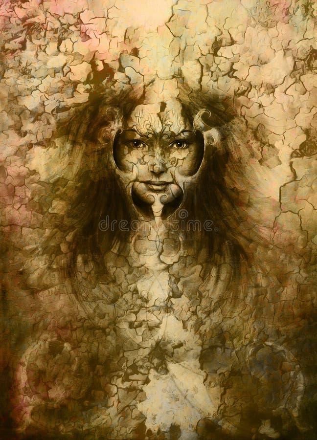 portrait de jeune femme  peinture de couleur sur le r u00e9sum u00e9 illustration stock