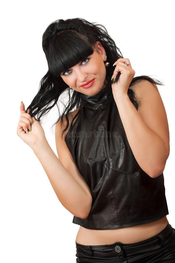 Portrait de jeune femme sexy dans des vêtements noirs photographie stock libre de droits