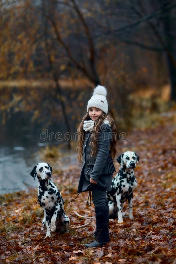 Portrait de jeune fille avec ses chiens dalmatiens photographie stock