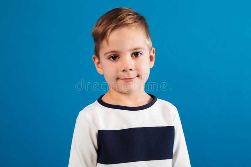 Portrait de jeune garçon dans le chandail regardant l'appareil-photo photographie stock