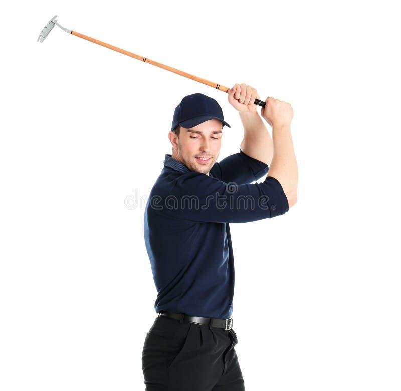 Portrait de jeune homme avec le club de golf images stock