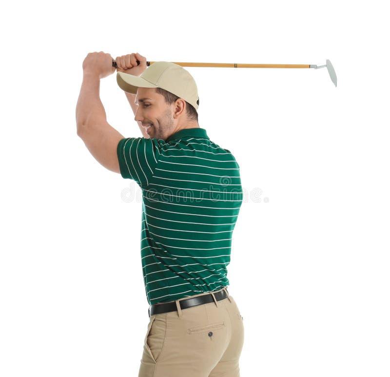 Portrait de jeune homme avec le club de golf sur le blanc images libres de droits