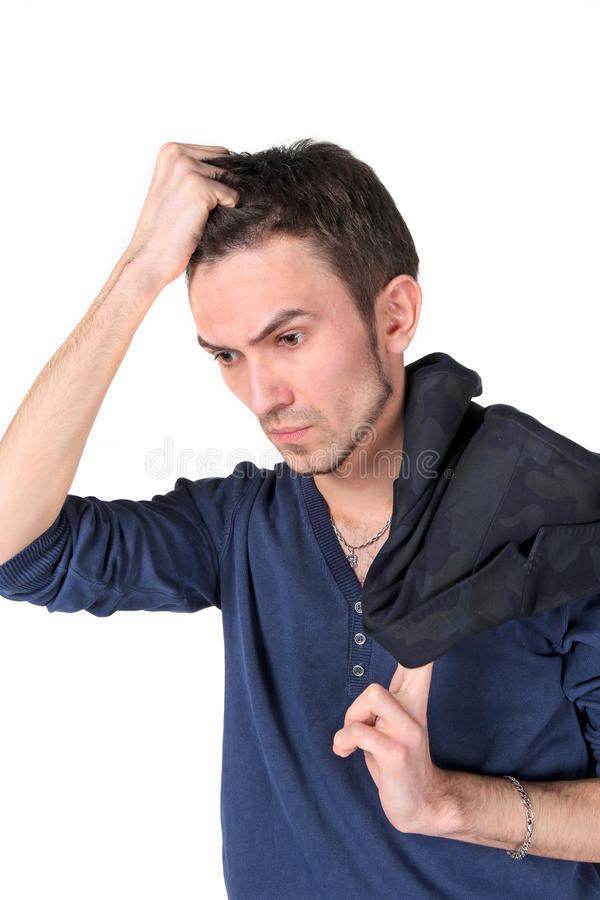 Portrait de jeune homme de pensée image stock