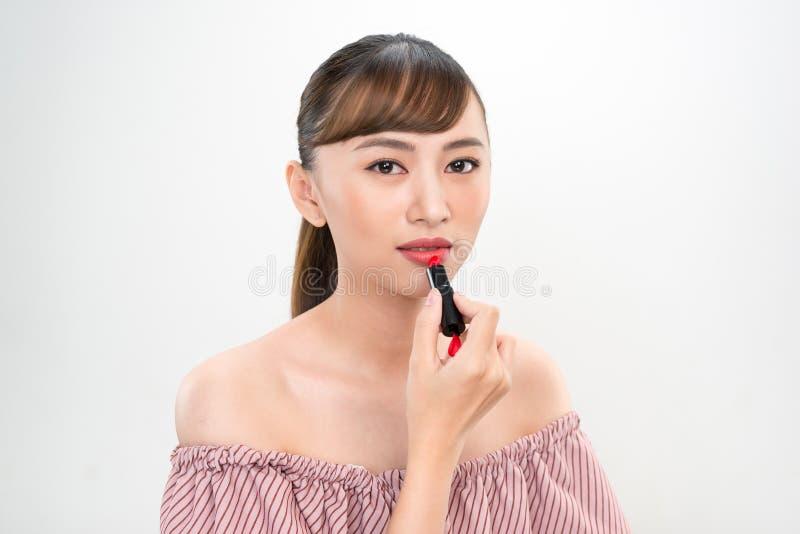 Portrait de jeune image asiatique de beaut? de femme sur le fond blanc images stock