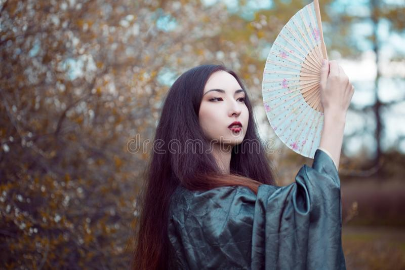Portrait de jeunes beaux Asiatiques dans le kimono gris et avec une fan photo stock