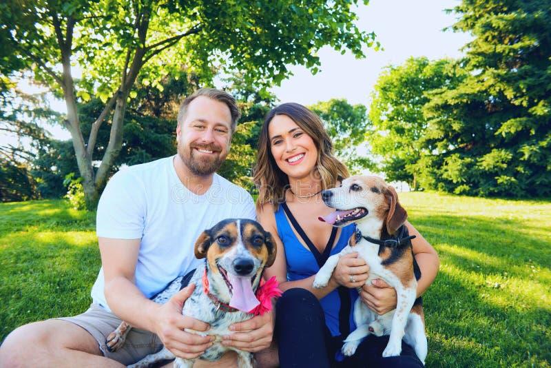 Portrait de jeunes couples se reposant avec leurs chiens photographie stock libre de droits