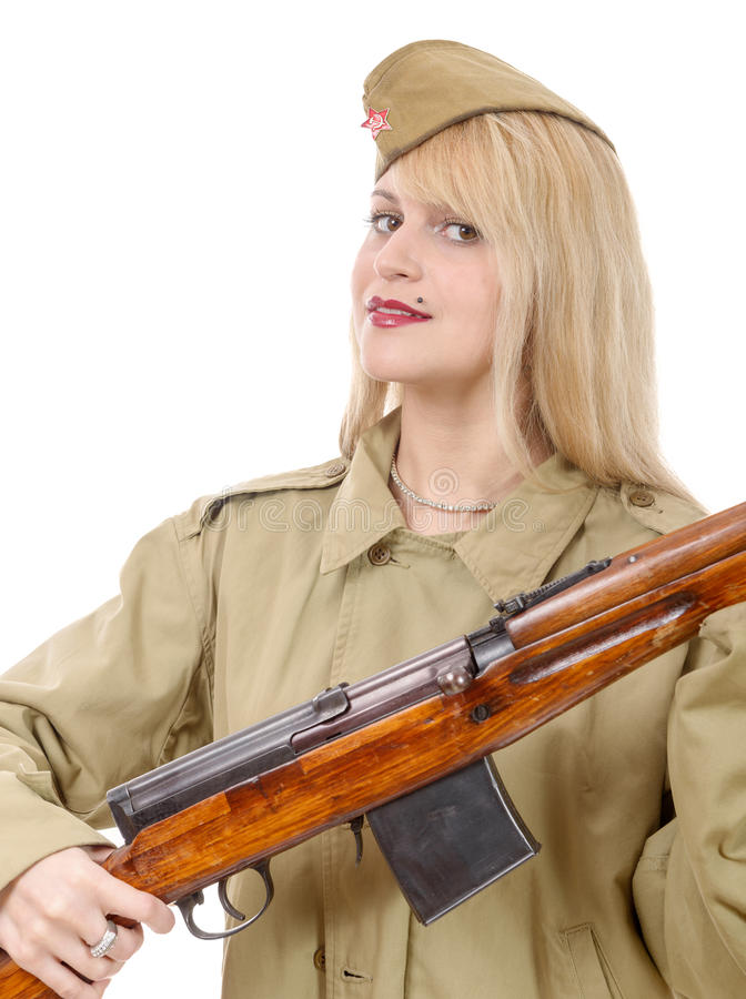 Portrait de jolie jeune femme dans l'uniforme militaire russe, sur W images libres de droits