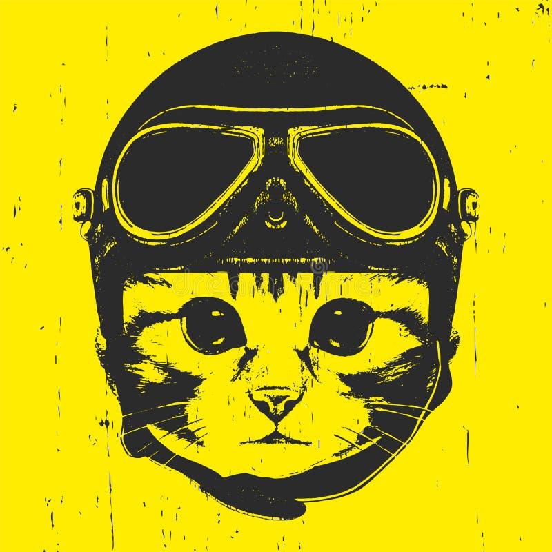 Portrait de Kitty avec le casque de vintage illustration de vecteur