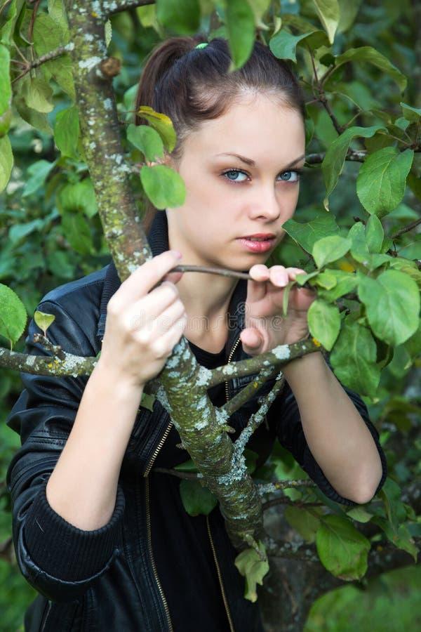 Portrait de l'été de fille parmi le feuillage photos stock