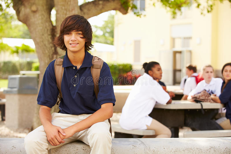 Portrait de l'étudiant masculin Wearing Uniform de lycée photographie stock