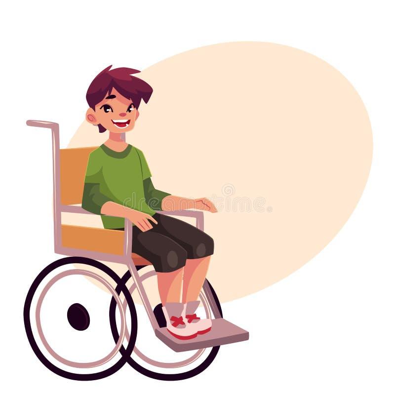 Portrait de l'enfant heureux d'école se reposant dans le fauteuil roulant illustration de vecteur