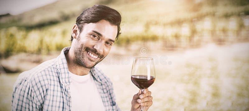 Portrait de l'homme tenant le verre de vin photographie stock