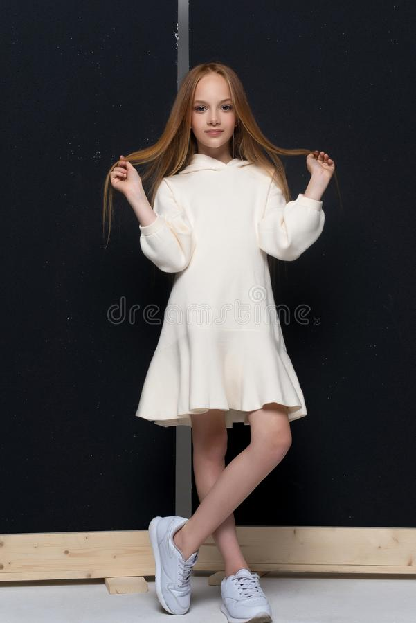 Portrait de la belle jeune fille rousse posant dans le studio photographie stock