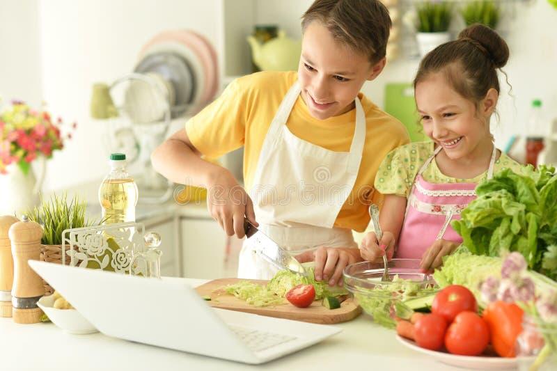 Portrait de la cuisine des frères et soeurs mignons images libres de droits