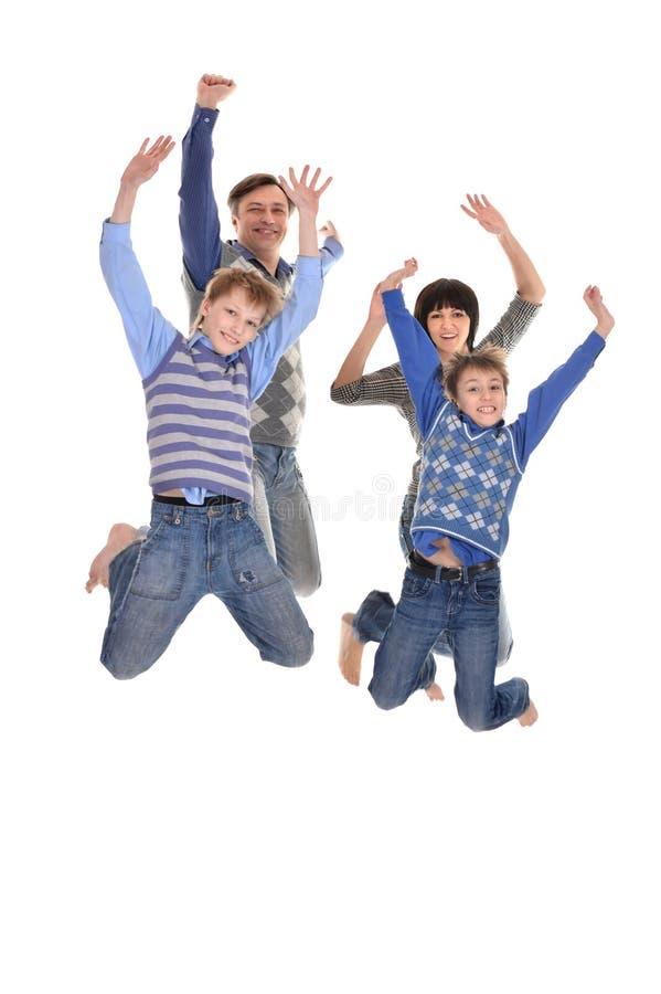 Portrait de la famille de quatre joyeuse photographie stock