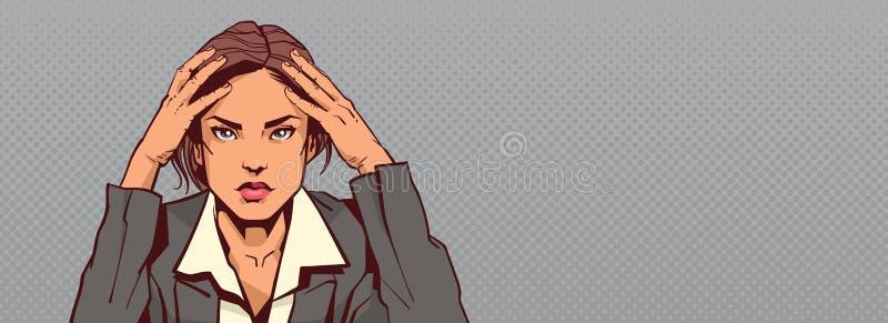 Portrait de la femme triste d'affaires tenant la femme d'affaires principale Stressed Horizontal Banner avec l'espace de copie illustration stock