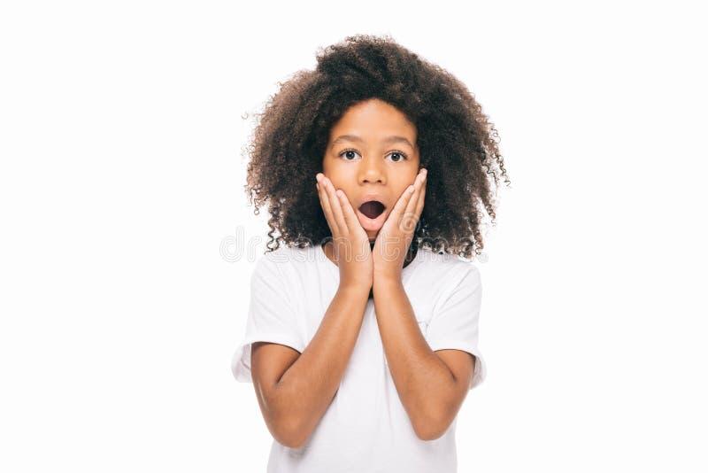 portrait de la fille choquée d'afro-américain regardant l'appareil-photo illustration stock