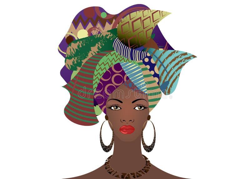 Portrait de la jeune femme africaine dans un turban coloré Enveloppez la mode d'Afro, Ankara, Kente, kitenge, robes africaines de illustration libre de droits