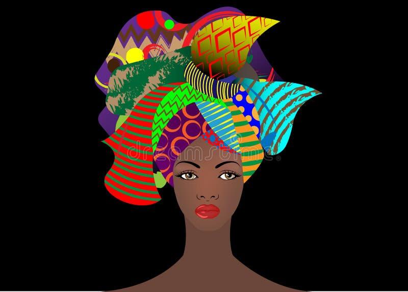 Portrait de la jeune femme africaine dans un turban coloré Enveloppez la mode d'Afro, Ankara, Kente, kitenge, robes africaines de illustration stock
