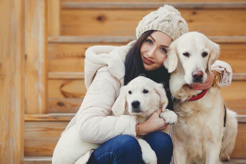 Portrait de la jeune femme avec les chiens préférés photo stock