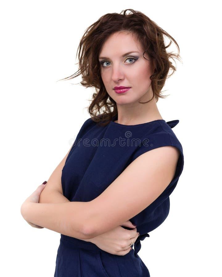 Portrait de la jeune femme d'affaires d'isolement sur le blanc image libre de droits