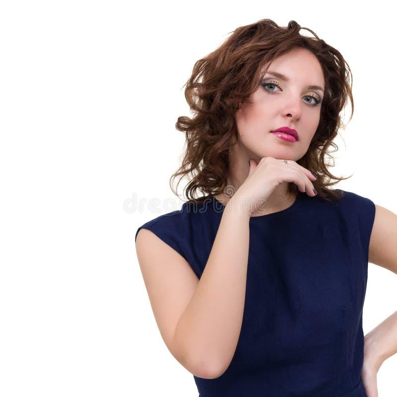 Portrait de la jeune femme d'affaires d'isolement sur le blanc photo libre de droits
