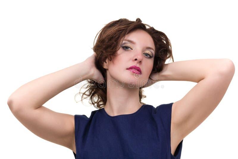 Portrait de la jeune femme d'affaires d'isolement sur le blanc photo stock