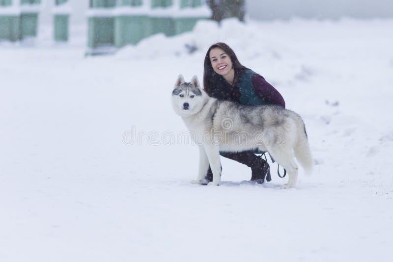 Portrait de la jolie femme de sourire étreignant son Husky Dog Outside photo stock