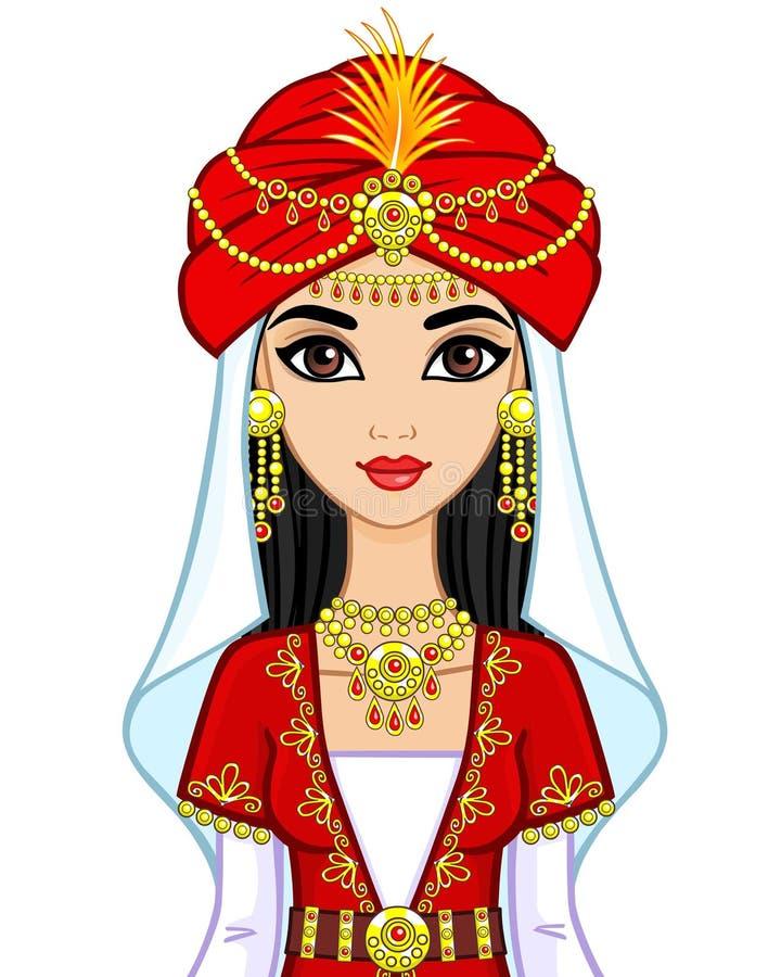 Portrait de la princesse arabe d'animation dans le costume antique illustration libre de droits