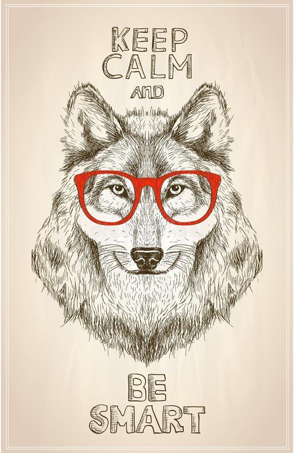 Portrait de loup de hippie avec des verres, illustartion graphique tiré par la main illustration stock