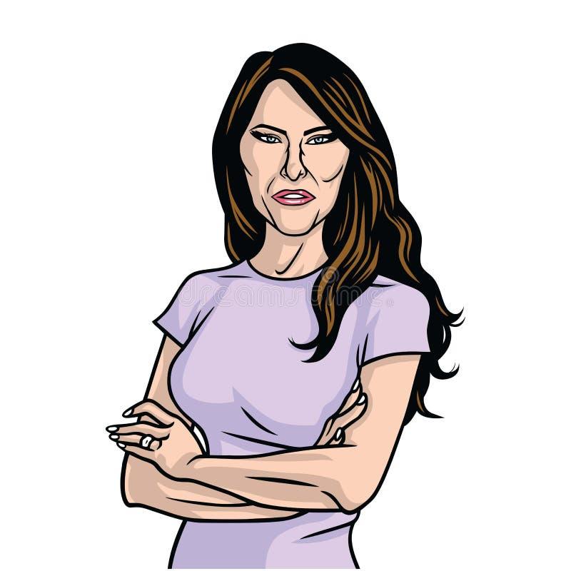 Portrait de Madame Purple Dress Vector des USA premier d'atout de Melania illustration stock