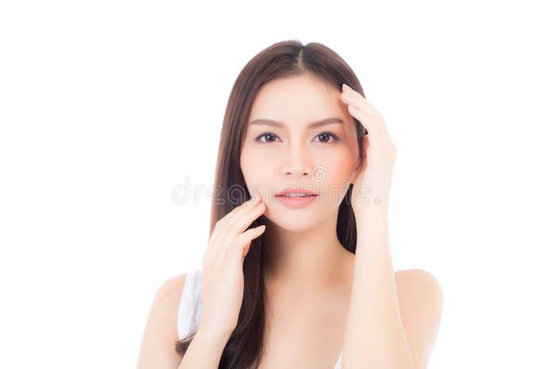 Portrait de maquillage asiatique de belle femme du cosm?tique, de la joue de contact de main de fille et du sourire attrayants, v photos stock