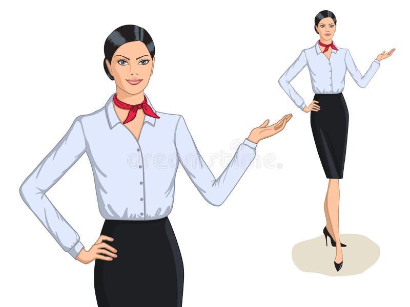 Portrait de mode de style d'affaires et intégral de la jeune femme illustration stock