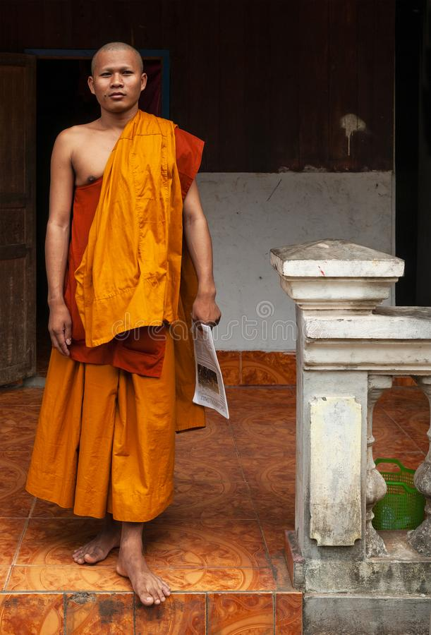 Portrait de moine bouddhiste, Angkor, Cambodge images libres de droits