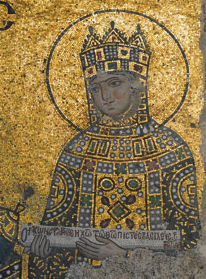 Portrait de mosaïque dans la galerie supérieure de la mosquée de Hagia Sophia à Istanbul, Turquie photographie stock libre de droits