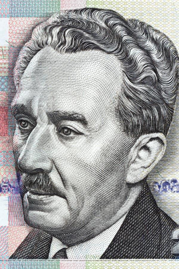Portrait de Moshe Sharett d'argent israélien photo stock