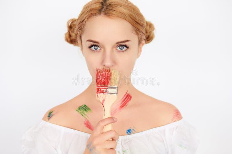 Portrait de peintre féminin photo stock