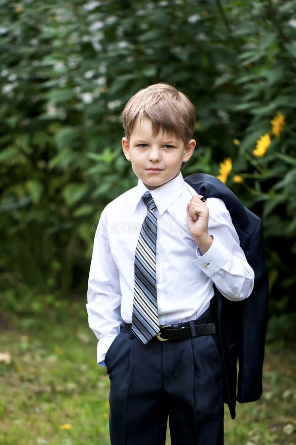 Portrait de petit homme d'affaires sur la nature photo libre de droits