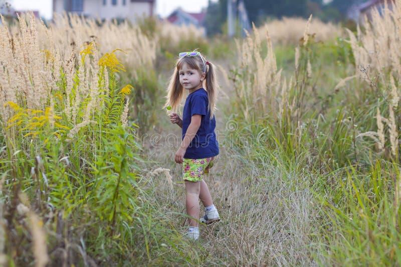 Portrait de petite fille à la mode dans des lunettes de soleil vertes dehors photo stock