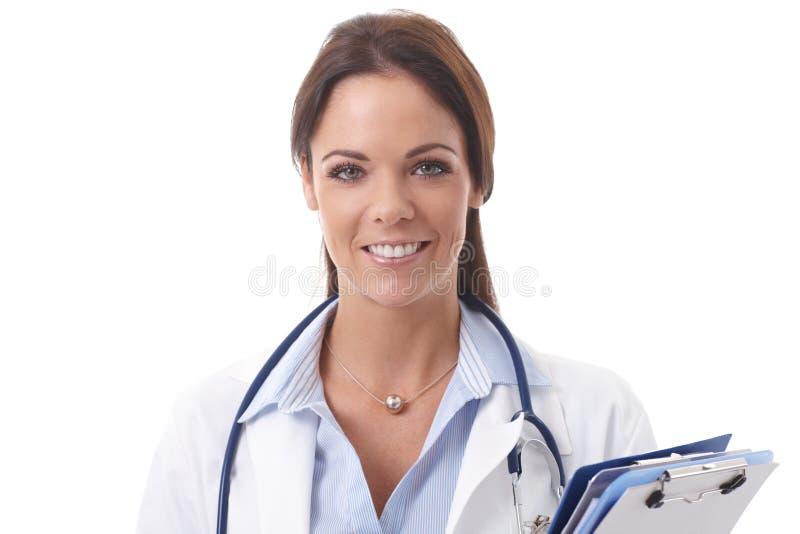 Portrait de plan rapproché de docteur heureux image libre de droits