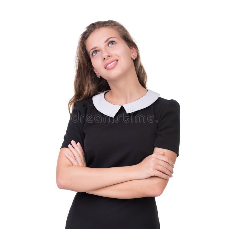 Portrait de plan rapproché de femme rêveuse d'isolement sur le blanc photo libre de droits