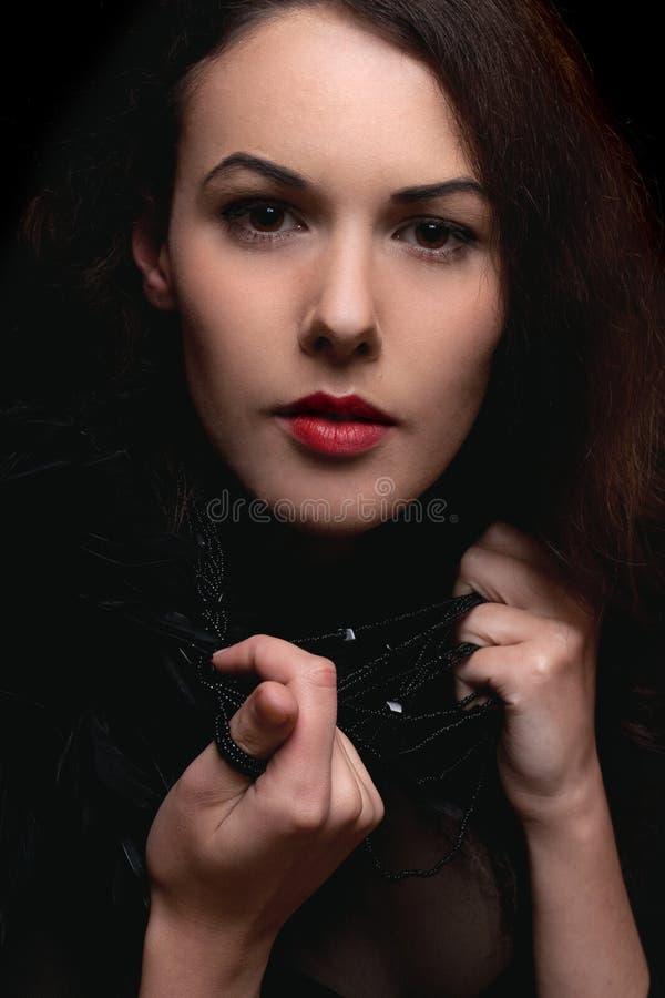 Portrait de plan rapproché de jeune dame passionnée images libres de droits